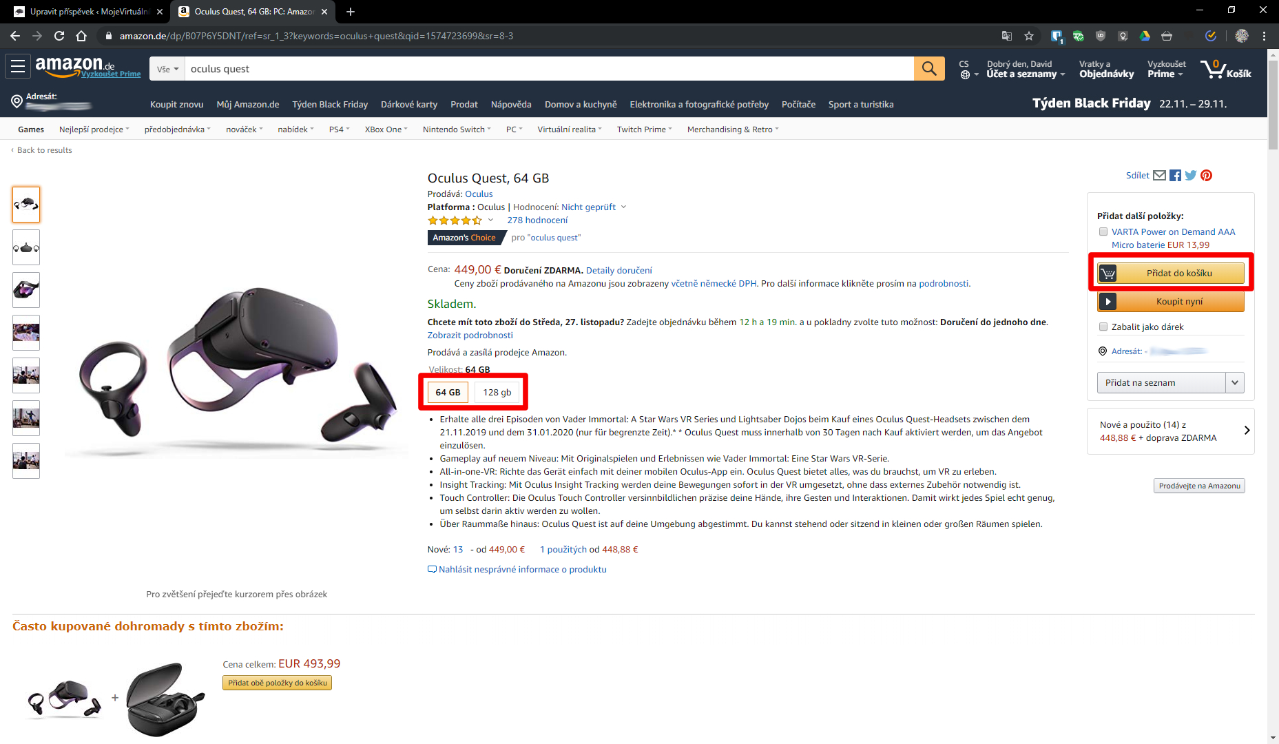 oculus vyber produktu a pridani do kosiku amazon